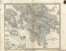 Carta geografica antica GRECIA MARE EGEO Atene Greece 1866 Old antique map