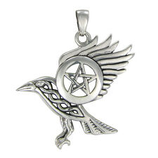 Sterling Silver Flying Raven Celtic Knot Wiccan Pentacle Pendant Crow Jewelry