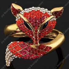 Huge Red Fox Animal Rhinestone Crystal fashion jewelry gold Bracelet Bangle