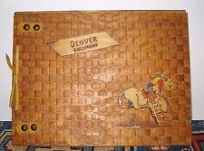 """Western Americana Denver Colorado """"Let Em Buck"""" Wooden Cutout Photo Album UNUSED"""