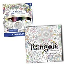 Rangoli Anti Stress Art Therapy Adult Colouring Book + 24 Staedtler Pencils Set