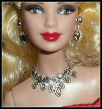 JEWELRY LOT BARBIE DOLL MODEL MUSE HOLIDAY FAUX SILVER NECKLACE & EARRINGS
