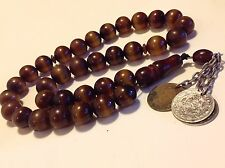 Old Islamic MISBAHA cherry Bakelite color China Bead Arab coin necklace (m1181)