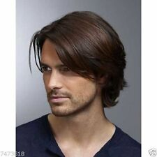 100% Real Hair! Fashion Deep Brown Natural Straight Short Wig Toupee For Men
