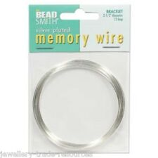"""BEADSMITH SILVER PLATED MEMORY WIRE 2.5"""" / 62mm BRACELET JEWELLERY WIRE"""