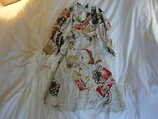 ROBERTO CAVALLI SILK WRAPAROUND ASIAN PRINT DRESS NWT XS!!
