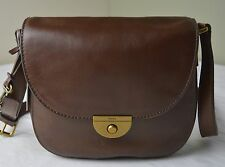 Fossil Emi Brown Leather Saddle Crossbody Messenger Bag
