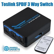 NEW 3 Way Toslink Switch SPDIF Distributor 3x1 with IR Remote Control HiFi