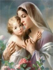 VINTAGE RELIGIOUS PRINT VIRGIN MARY BABY JESUS ROSES MADONNA CANVAS ART LARGE