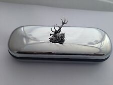 A53 Red Stag Head   Motif On a Chrome Glasses Case