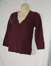 Abercrombie & Fitch Womens Large Maroon Long Sleeve V-Neck Wool Blend Sweater