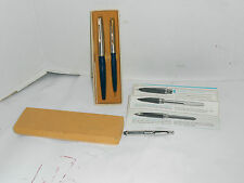 Vintage Parker Convertible 45 Blue Fountain Pen Pencil Set In Original Box