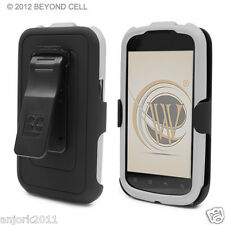 Pantech Burst AT&T P9070 Hard Snap-On Case+Holster+Screen Protector White