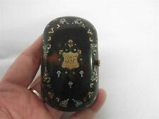 ANTIQUE MINIATURE HINGED COIN PURSE with GOLD & MOTHER OF PEARL INLAY w MONOGRAM
