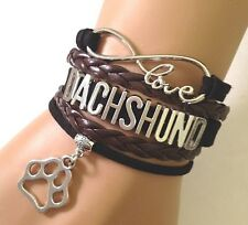 Love Dachshunds Infinity Bracelet Jewelry Paw Print Charm Dog Breed Pup US SELL