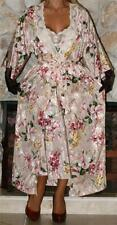 L LONG FLORAL SATIN VINTAGE NIGHTGOWN LINGERIE PEIGNOIR / ROBE SET