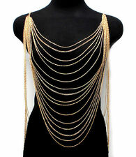 Gold Necklace Armor Body Chain Women Jewelry Harness Long Chain