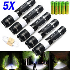 5PCS 8000 Lumen CREE XM-L T6 LED USB Rechargeable Flashlight Torch Zoom Lam