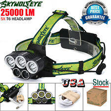 25000LM 5X XML T6 LED Rechargeable 18650 USB Headlamp Headlight Head Light Torch