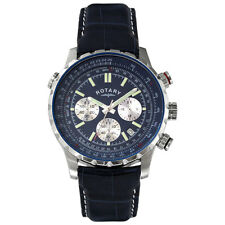 Mens Rotary chronograph blue leather strap watch GS00199/05