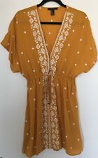 Forever 21 Golden Yellow/White Floral Embroidery Dress Size M NWOT