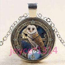 Vintage Celtic Owl clock  Cabochon silver Glass Chain Pendant Necklace #3383