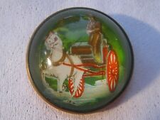 Antique Glass Dome Horse Bridle Rosette Pin – Man Driving Horse & Buggy