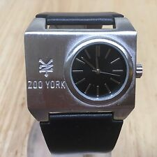 Vintage Zoo Yorker Mens Silver Rectangle Analog Quartz Watch Hours~New Battery