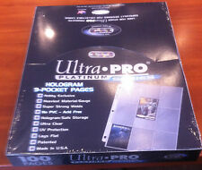 NIP Ultra Pro Pack of 100 Pages 9 Pocket Card Sleeves 3 Hole Platinum 1 Box