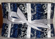 "Jelly Roll Fabric 2.5""Quilting Strips Navy Blue White Quilt Sewing Cotton Floral"