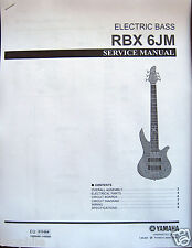 Yamaha RBX 6JM Electric Bass Guitar Service Manual and Parts List Booklet