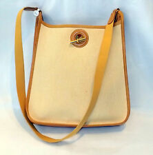 Authentic HERMES Vespa PM Natural toile Cotton Canvas Tan leather Shoulder bag