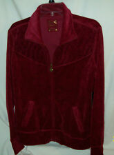 Three Hearts Deep Rich Burgundy Cotton Polyester Zip Up Velour Jacket Large NWTs