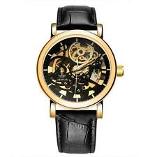 SEWOR Big Dial Skeleton Hand Wind Mechanical Watch (black , gold)