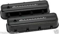 big block CHEVROLET SCRIPT BLACK ALUMINUM TALL VALVE COVERS,CHEVY 454 396