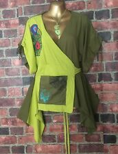 COLINE Colorfull Artsy Wrap-Around Assymetric Cotton Top Art-To-Wear Boho Size M