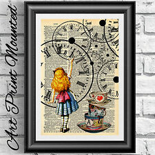 Original dictionary art book page print Alice in Wonderland Steampunk clock gift
