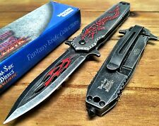 Spring Assisted Pocket Knives with Black Stonewash handle with Red Dragon