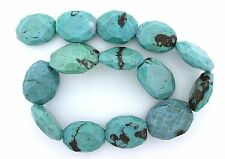 Large 1 - 1 1/4 Inch Faceted Reconstructed Resinated Turquoise Bead Strand Focal