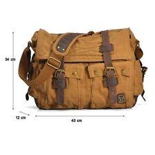 """X-Large Men's Vintage Canvas Leather 17"""" Laptop Shoulder Messenger Camera Bag"""