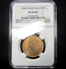 1900-H Hong Kong 1 Cent ✪ Ngc Ms-64-Rb Uncirculated ✪ Red Brown Bu Ch ◢Edelmans◣
