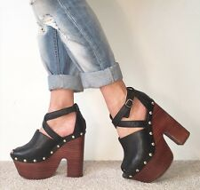 TOPSHOP Black Leather Studded Extreme Platform Ankle Strap Block Heels Size 6