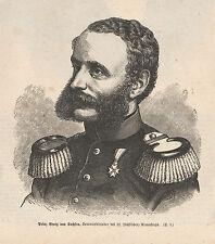 Prinz Georg von Sachsen HOLZSTICH von 1871 Deutsch-Französischer Krieg