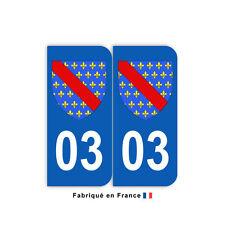 Stickers pour plaque département 03 Allier (jeu de 2 stickers) blason