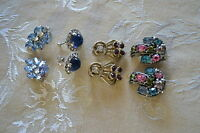 Lot of 4 pairs of vintage clip and screw back crystal earrings