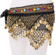 Belly Dance Hip Skirt 2 Rows Scarf Wrap Belt Hipscarf with Beads and Gold