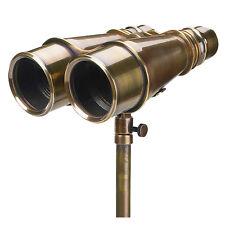 "Solid Brass Victorian Binoculars w/ Tripod 6.5"" Antiqued Bronze Finish Nautical"