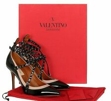 NEW VALENTINO GARAVANI LOVE LATCH BLACK PATENT STRAPS HEELS PUMPS SHOES 35/US 5