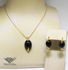 Tito Pedrini Black Onyx Gemstone in 18k Yellow Gold Necklace & Earrings Set