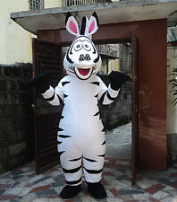 Madagascar Zebra 3 Marty Mascot Costume Cartoon Halloween Party Adult Free Ship